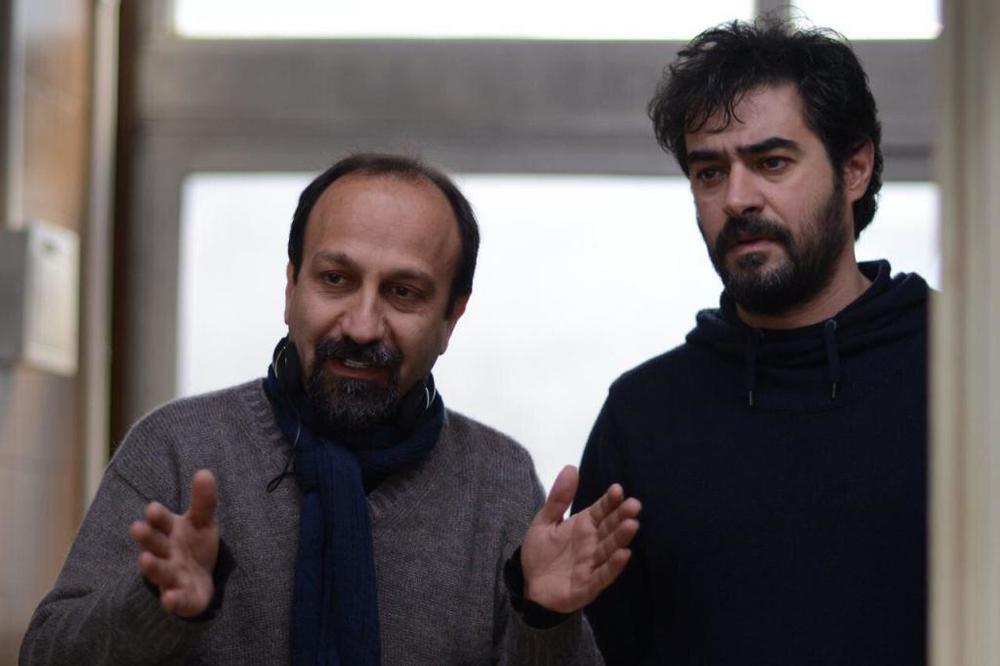 شهاب حسینی و اصغر فرهادی در نمایی از پشت صحنه «فروشنده»