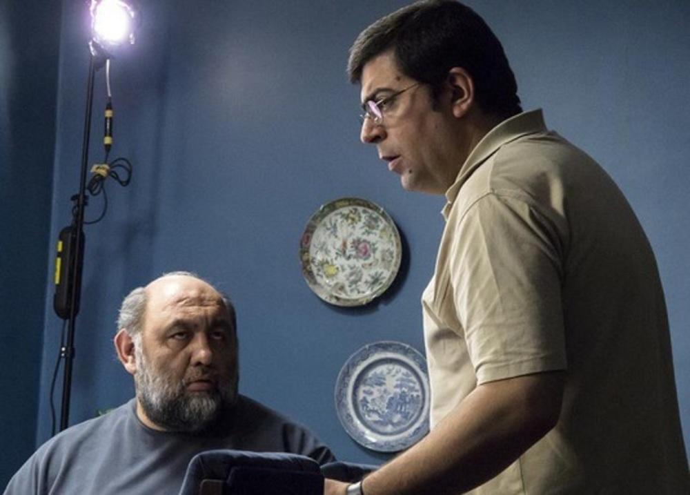 لوون هفتوان و مجید برزگر در پشت صحنه فیلم پرویز