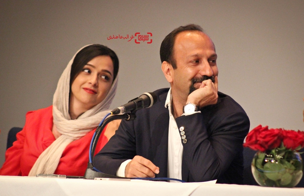 اصغر فرهادی و ترانه علیدوستی در نشست خبری فیلم فروشنده