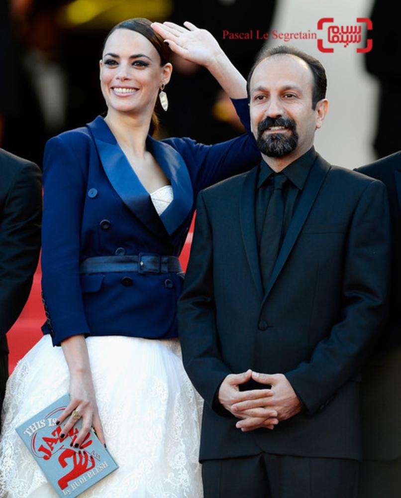 اصغر فرهادی و برنیس بژو در اکران فیلم «گذشته» در کن 2013