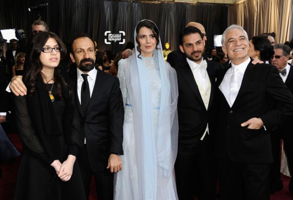 محمود کلاری، پیمان معادی، لیلا حاتمی، اصغر فرهادی و سارینا فرهادی در اسکار ۲۰۱۲