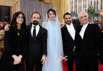 محمود کلاری، پیمان معادی، لیلا حاتمی، اصغر فرهادی و سارینا فرهادی در هشتاد و چهارمین اسکار