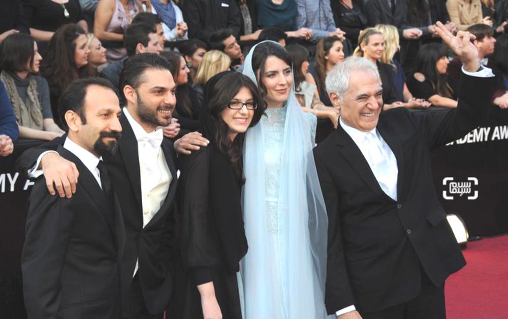 محمود کلاری،لیلا حاتمی،سارینا فرهادی،پیمان معادی و اصغر فرهادی در اسکار ۲۰۱۲