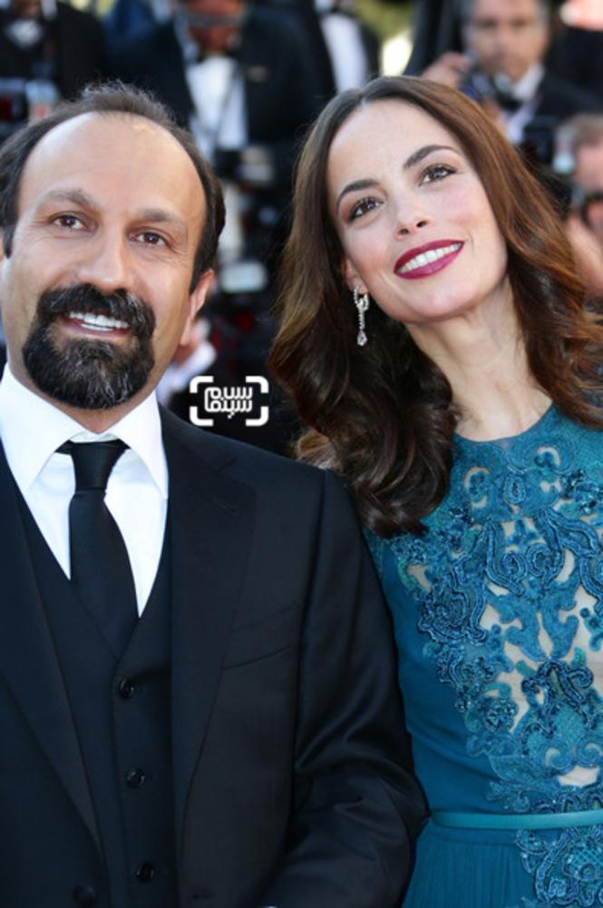 اصغر فرهادی و برنیس بژو در اختتامیه جشنواره فیلم کن