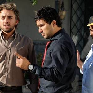 حامد بهداد و بهرام رادان در پشت صحنه فیلم آدمکش