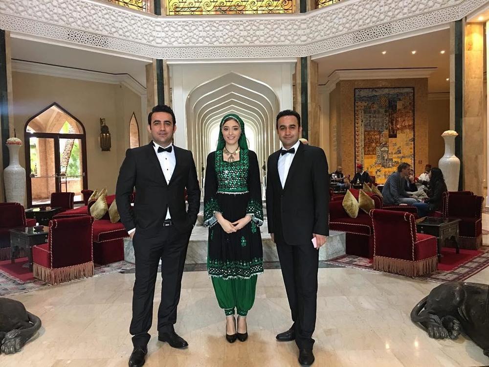 نوید محمودی، فرشته حسینی و جمشید محمودی در جشنواره فیلم مراکش 2016