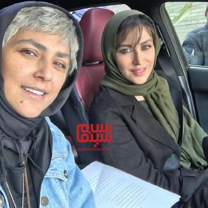 هدی زین العابدین و مهتاب کرامتی در پشت صحنه سریال «رقص روی شیشه»