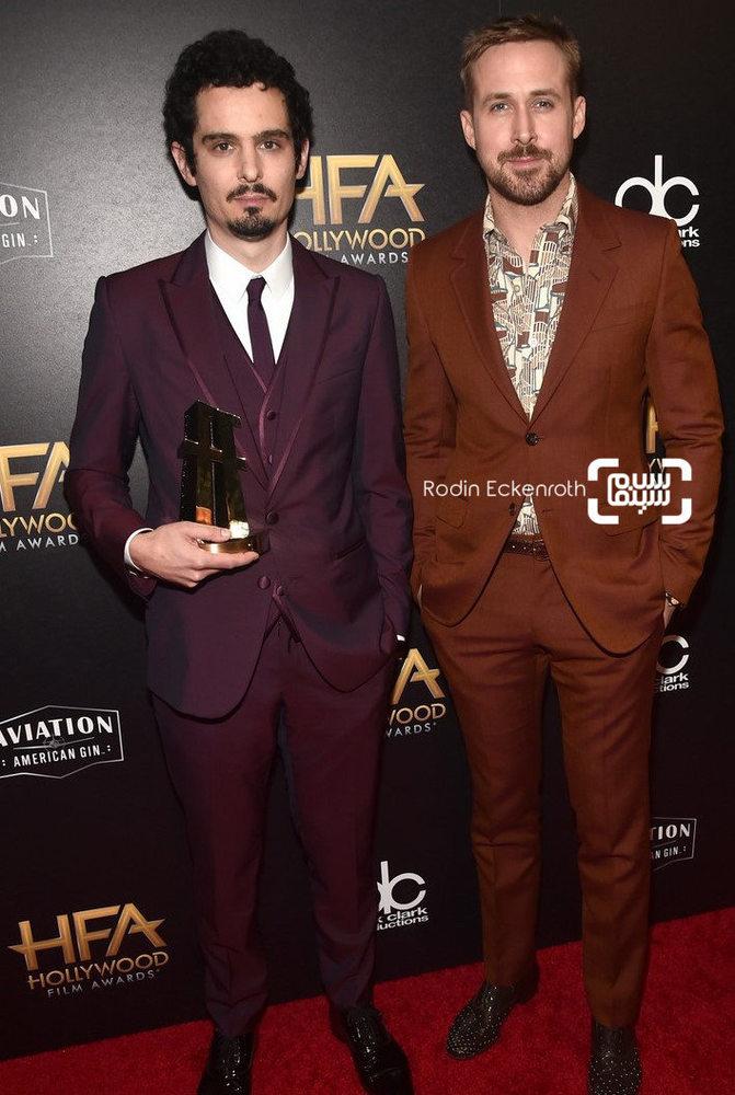 دیمین شزل و رایان گاسلینگ در مراسم جوایز فیلم هالیوود 2018