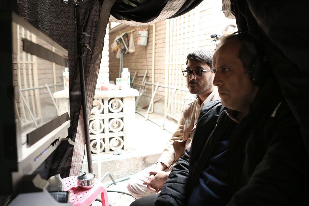 حمید نعمت الله و محمدرضا شفیعی در پشت صحنه فیلم «شعله ور»