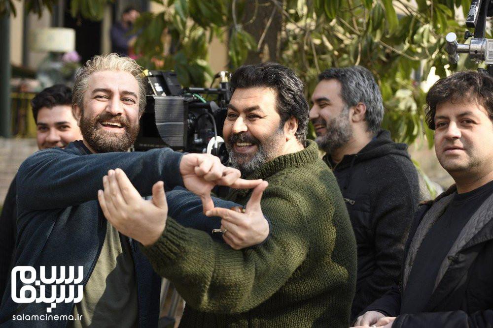 فرهاد اصلانی و مجید صالحی در پشت صحنه فیلم «کلمبوس»
