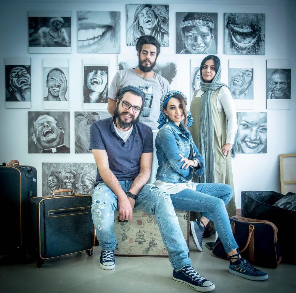 پوریا شکیبایی، نسیم فروغ و مهران مرادی در نمایی از پشت صحنه فیلم کوتاه «دژاوو»