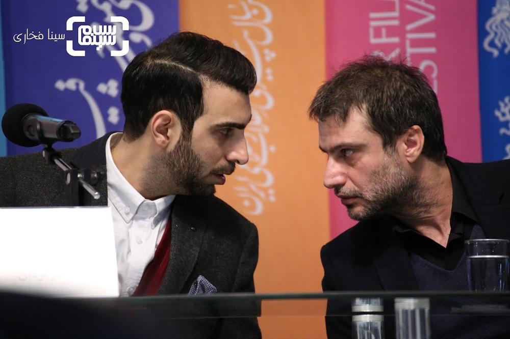 شهرام حقیقت دوست و پولاد کیمیایی در نشست خبری فیلم «معکوس» در سینمای رسانه جشنواره فجر 37