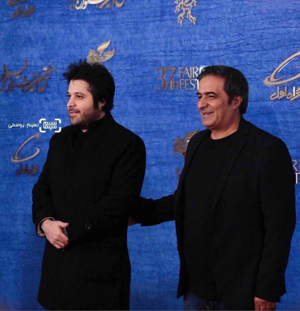 منصور سهراب پور و سیاوش اسعدی در اکران فیلم «درخونگاه» در جشنواره فیلم فجر 37