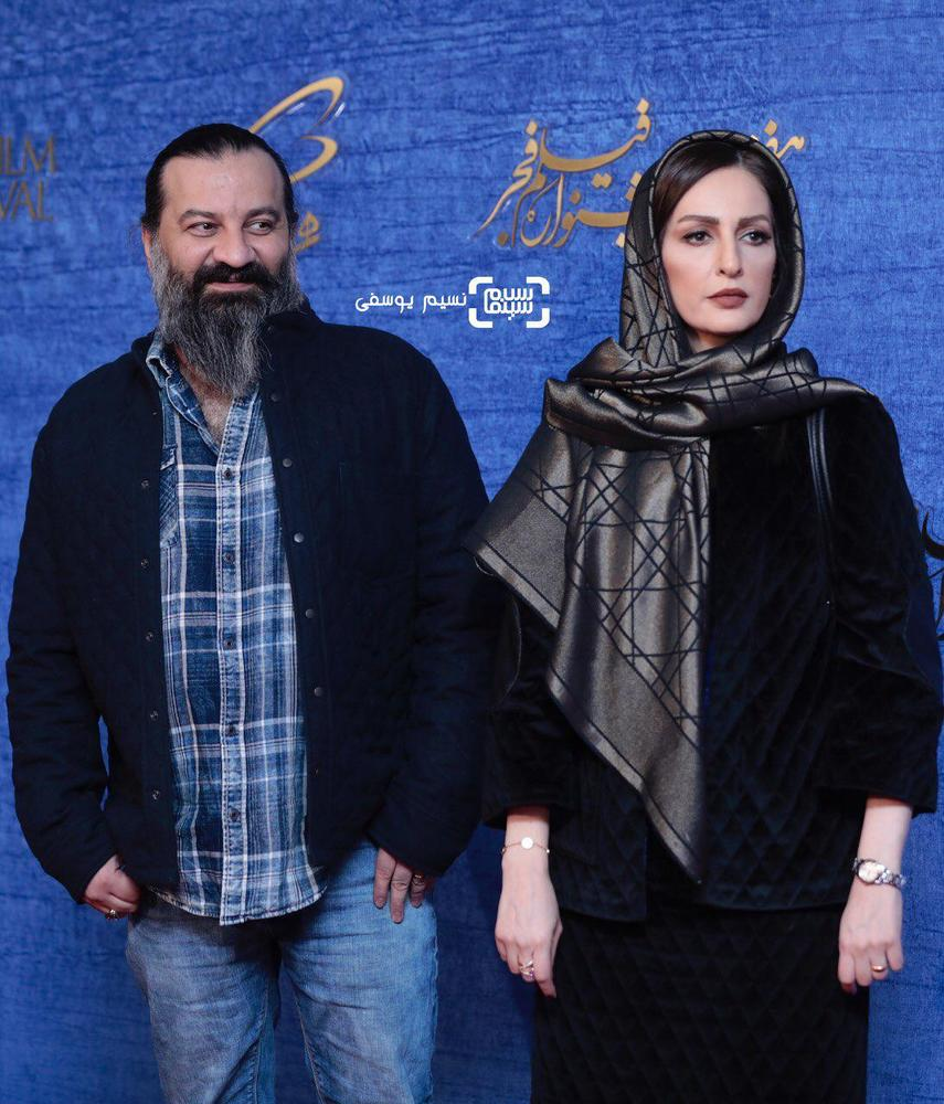 مهراب قاسم خانی و همسرش شقایق دهقان در اکران فیلم «ناگهان درخت» در جشنواره فجر 37