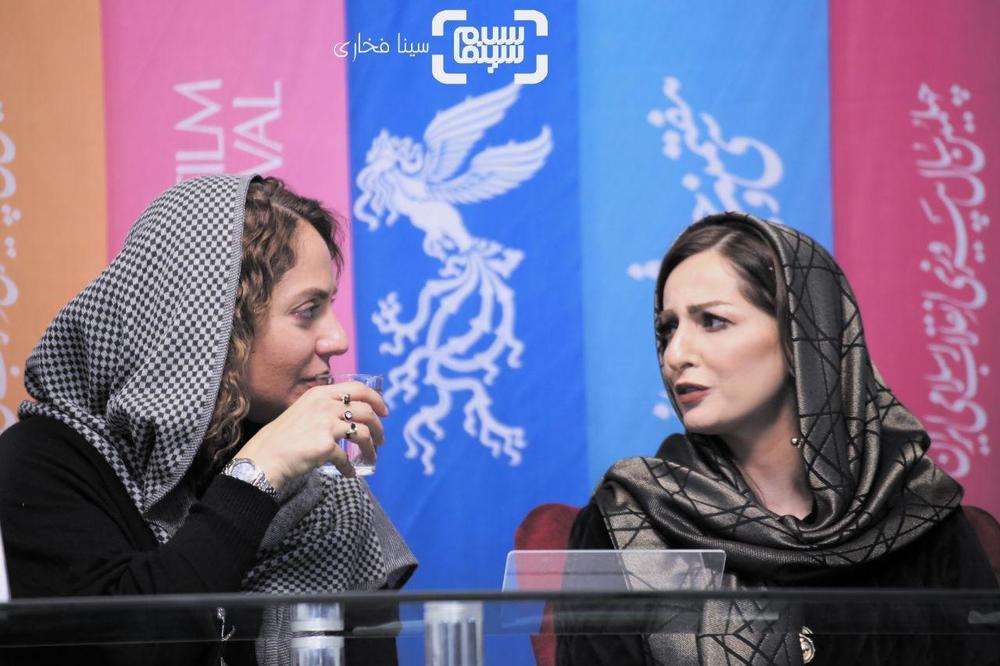 شقایق دهقان و مهناز افشار در نشست خبری فیلم «ناگهان درخت» در جشنواره فیلم فجر 37