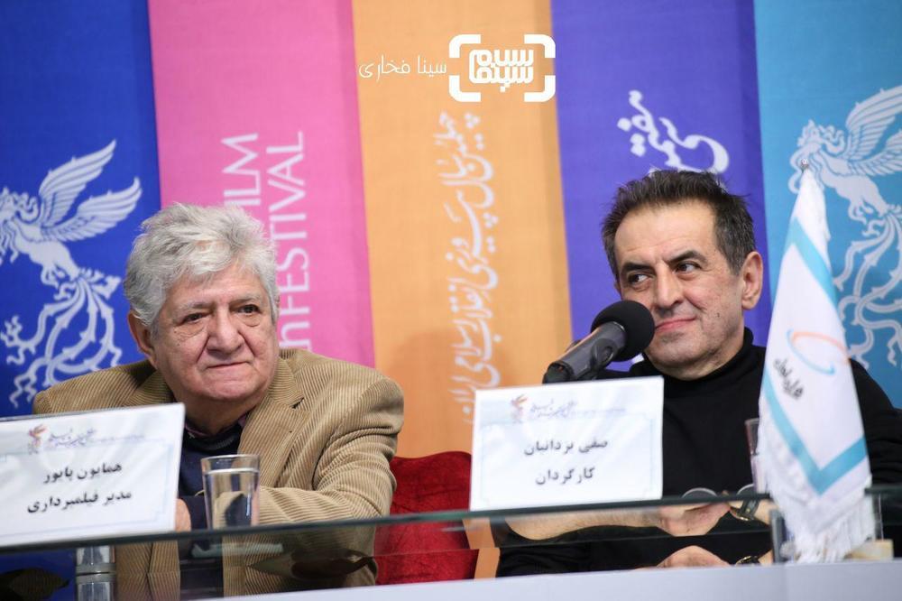 صفی یزدانیان و همایون پایور در نشست خبری فیلم «ناگهان درخت» در جشنواره فیلم فجر 37