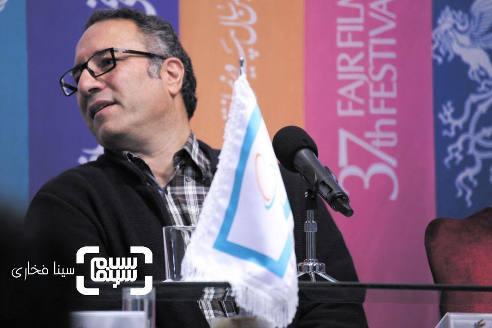 رضا میرکریمی در نشست خبری فیلم «قصر شیرین» در جشنواره فجر 37