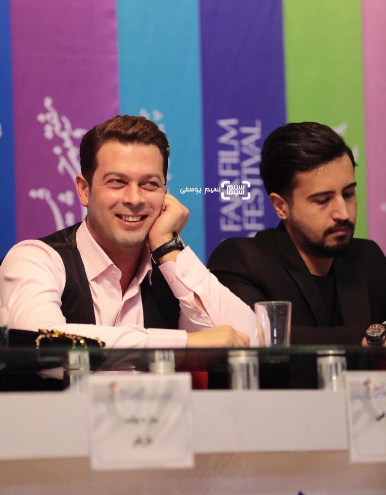 پژمان بازغی و مهرداد صدیقیان در نشست خبری فیلم «سمفونی نهم» در جشنواره فیلم فجر 37
