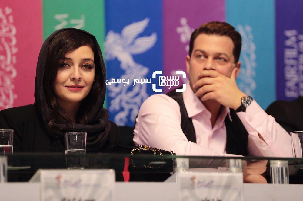 پژمان بازغی و ساره بیات در نشست خبری فیلم «سمفونی نهم» در جشنواره فیلم فجر 37