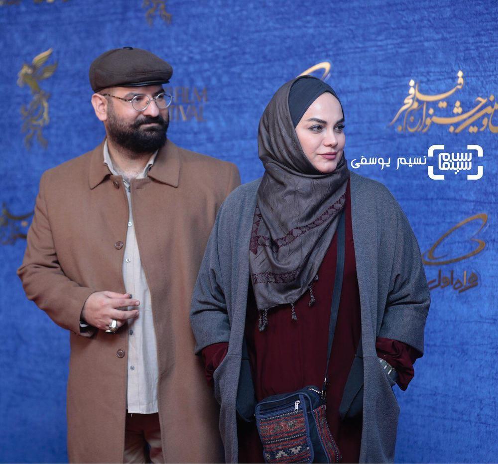 نرگس آبیار و همسرش محمدحسین قاسمی در اکران فیلم «شبی که ماه کامل شد» در جشنواره فیلم فجر 37